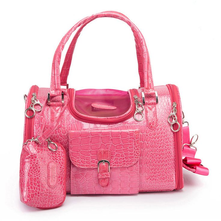 Fabric:high quality crocodile pattern PU leather+breathable mesh+polyester lining  Workmanship:exquisite  Color:as pic, pink and black  Size:2 sizes  Small:34cm(L)*22cm(W)*20cm(H)  Medium:40cm(L)*26cm(W)*20cm(H)  Application:tote,handbag,shoulder bag,messenger bag Attention:This is the bag for small dogs, pls check the size with your pups or kittenbefore buying.