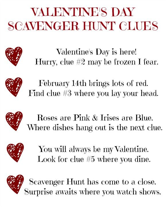 Valentine's Day Scavenger Hunt Clues (Printable)