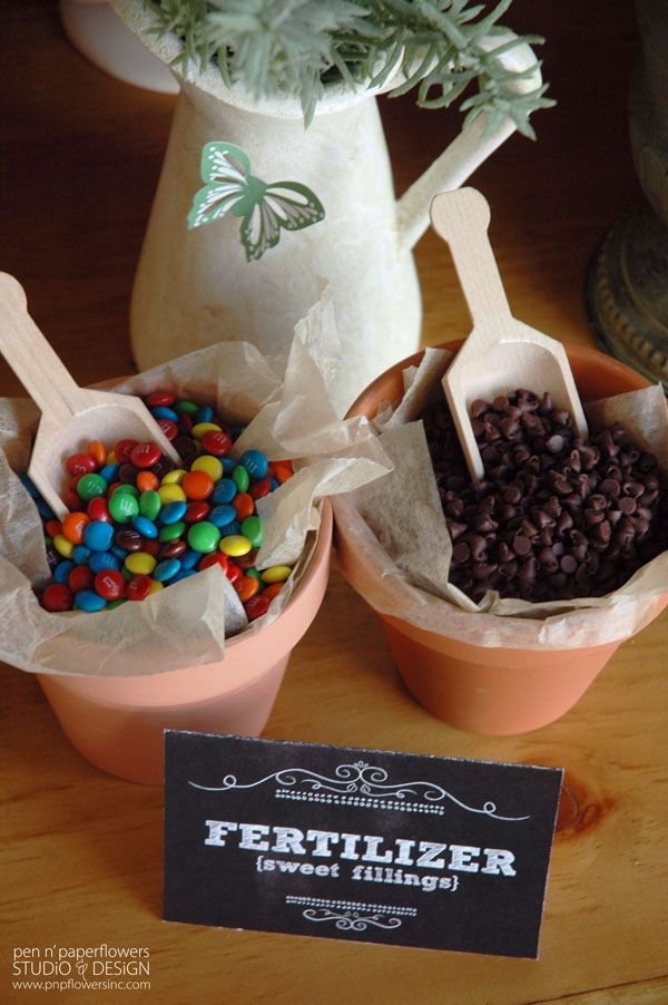 """Favorite part of this """"Rooted in Love"""" Bridal Shower? The interactive """"Parfait Potting Station"""" with pots of M's and mini chocolate chips. So clever!"""