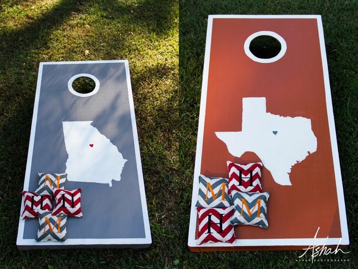 Wedding corn hole! i like the different states one for AL for me & one for CO for Chris!!!