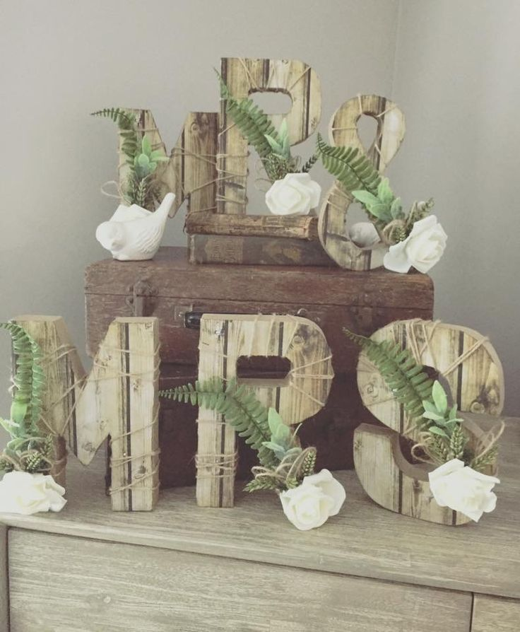 Mr and Mrs rustic letters