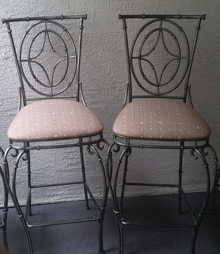 Faux Bamboo Wrought Iron Set of 2 Bar stools by DEGFURNITUREDESIGNS on Etsy