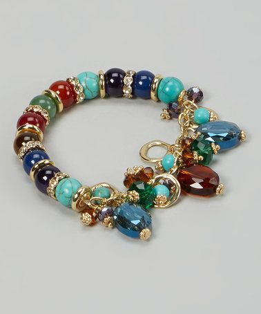 Turquoise & Red Fall For Your Type Stretch Bracelet