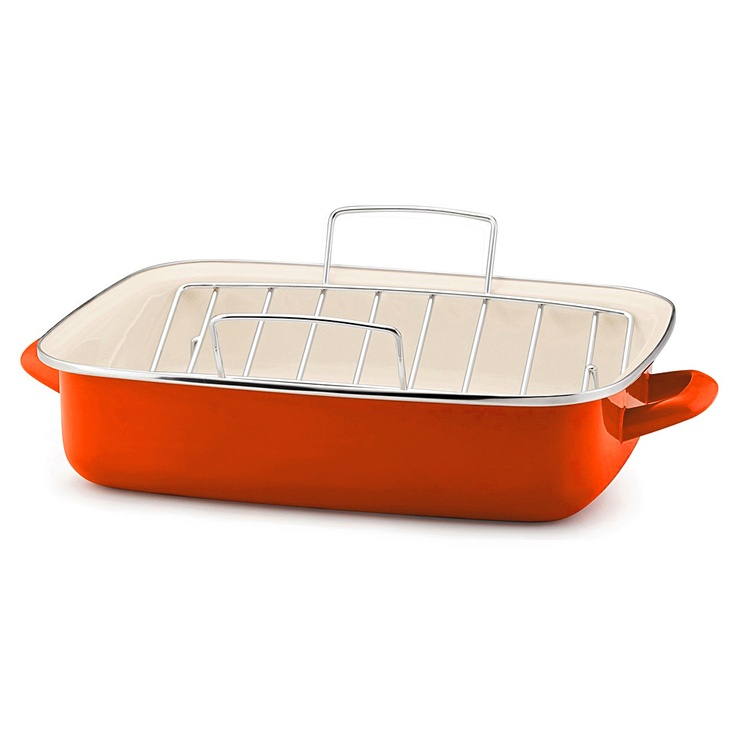 Clearly I'm still working through my orange addiction! Love this enamel roasting dish. I can just imagine (cooking and) serving a succulent roast pork in it! - Rachel Ray, Orange Roasting Dish with Rack
