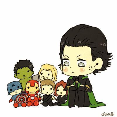 Loki with Avengers plushies