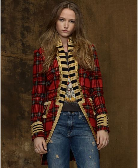 Denim & Supply Ralph Lauren Red Plaid Tweed Gold Trim Military