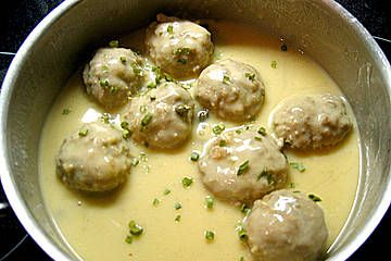"""""""Koenigsberger Klopse"""" -or meatballs in a creamy sauce - just made this for the first time on my own......in Germany you can get the sauce mix but living in england had to make it from scratch......english recipes of this out there but not quite like the way I just made them.........."""