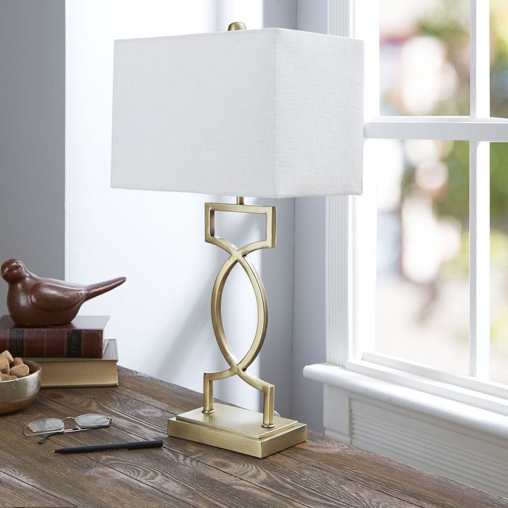 The Estelle Gold-tone/White Metal/Fabric Table Lamp with Rectangular Shade