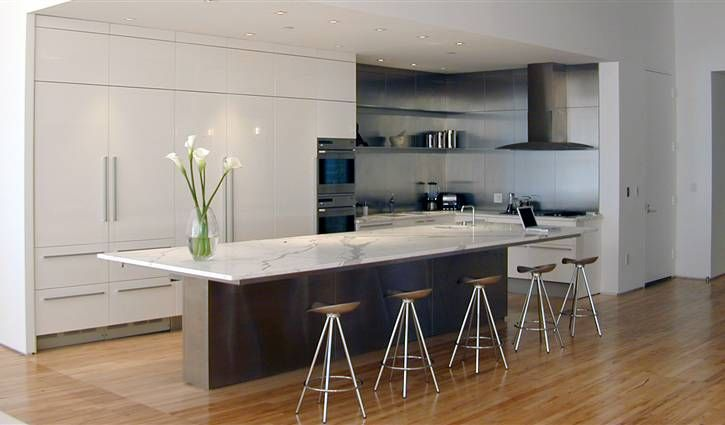 Best Boffi Modern White Kitchen With Calacatta Marble Top And 400 x 300