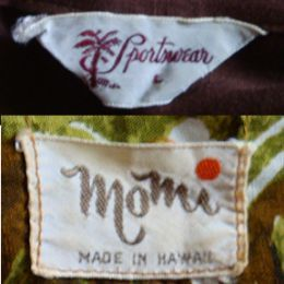 Identify vintage Hawaiian shirtsTwo tag examples: loop style and four side stitched. Photo courtesy of author.