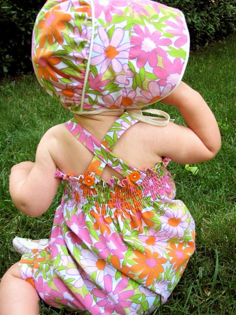 Daisy Romper and Bonnet from Thrifted Sheet