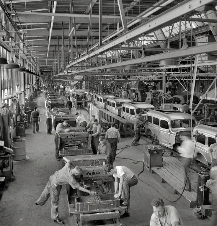 August 1942. Detroit (vicinity). Chrysler Corporation Dodge truck plant. Hundreds of deft operations are required to assemble and finish the long lines of Dodge Army truck bodies that move daily to final production lines. Just one of the thousands of production lines that spelled doom for the Axis. Medium-format negative by Arthur Siegel, Office of War Information