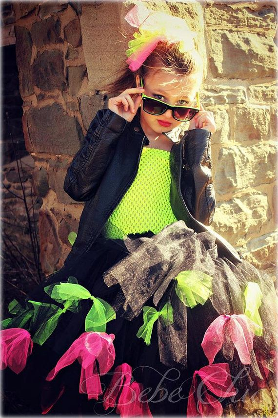 Rock star tutu dress  black and neon yellow by Mybebechic on Etsy