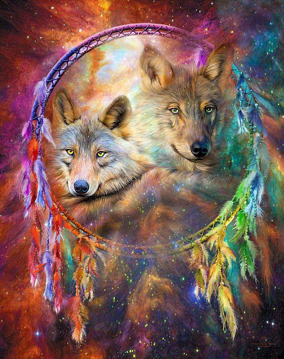 Dream Catcher - Wolf Spirits art by Carol Cavalaris.
