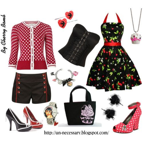 Rockabilly Girl II - Polyvore -shorts and cardigan