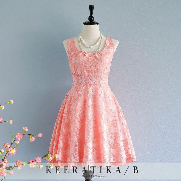 My Lady Nicely Coral Peach Lace Dress Vintage Design Lace Sundress... ($54) ❤ liked on Polyvore featuring dresses, silver, women's clothing, coral dress, vintage cocktail dresses, scoop-neck dresses, vintage dresses and coral lace dress