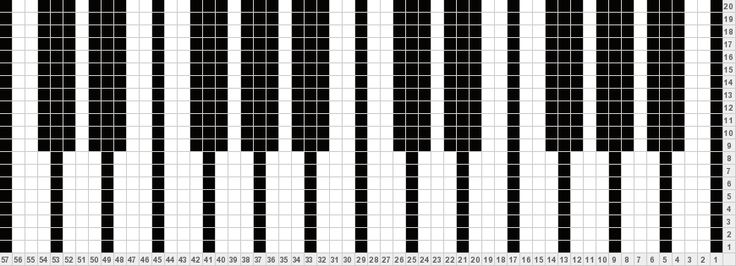 piano keys knitting chart