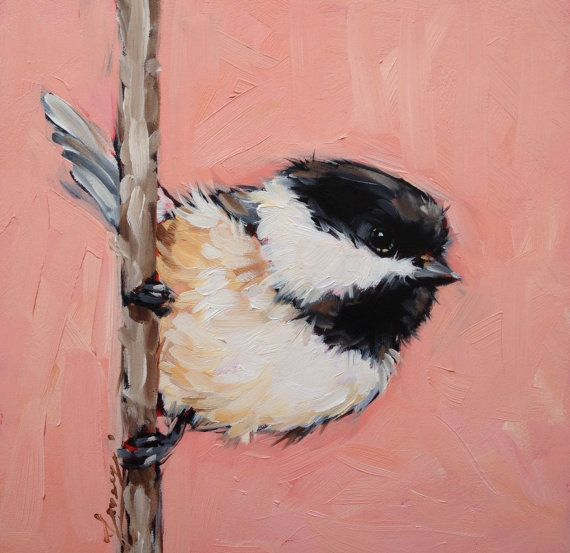 Chickadee Painting 6x6 original oil painting on panel by LaveryART, $55.00