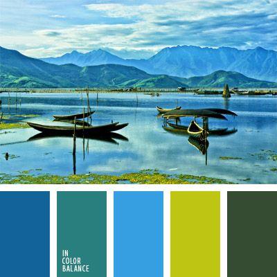 azul celeste, azul oscuro, celeste y azul oscuro, color planta pantanosa, color verde amarillento, colores para la decoración, matices del azul oscuro, paletas de colores para decoración, paletas para un diseñador, tonos celestes, turquesa, verde azulado.