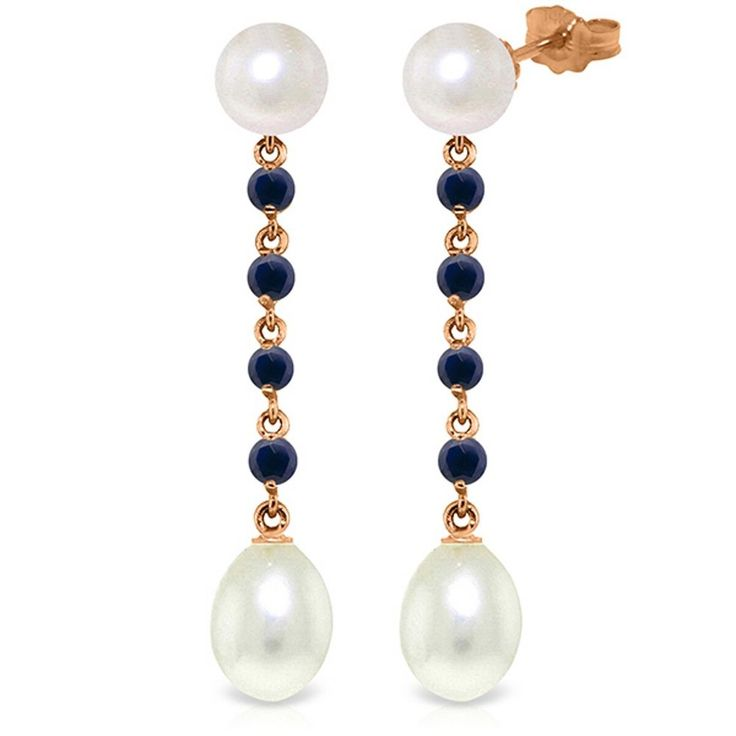 14K Solid Rose Gold 11 Carat Natural Pearl Sapphire Earrings Wt 4.20g H 1.78in #GalaxyGold #Chandelier