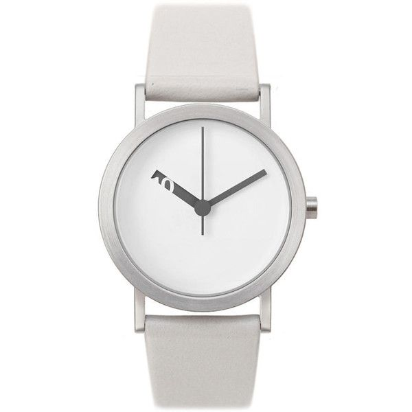 Normal Timepieces White Face&Leather Band Extra Normal en-l006 Watch (6,815 THB) ❤ liked on Polyvore