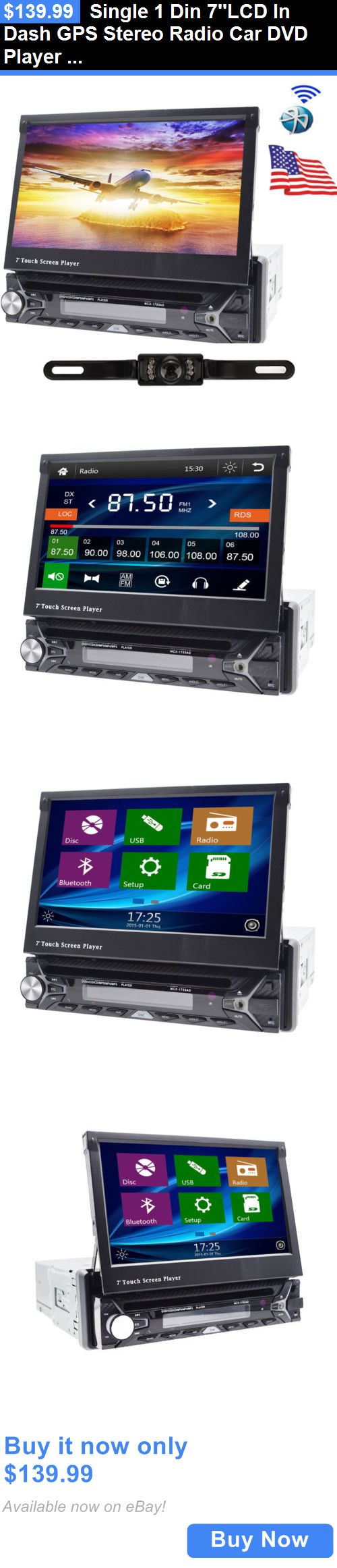Vehicle Electronics And GPS: Single 1 Din 7Lcd In Dash Gps Stereo Radio Car Dvd Player Touch Screen Bt+Cam BUY IT NOW ONLY: $139.99