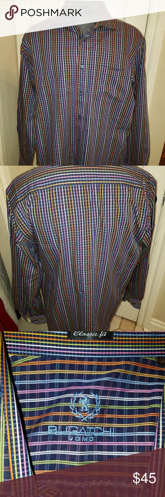 BUGATCHI CLASSIC FIT SIZE LARGE Multicolor striped bugatchi classic fit size large. This shirt is in like new condition from a clean non-smoking home Bugatchi Shirts