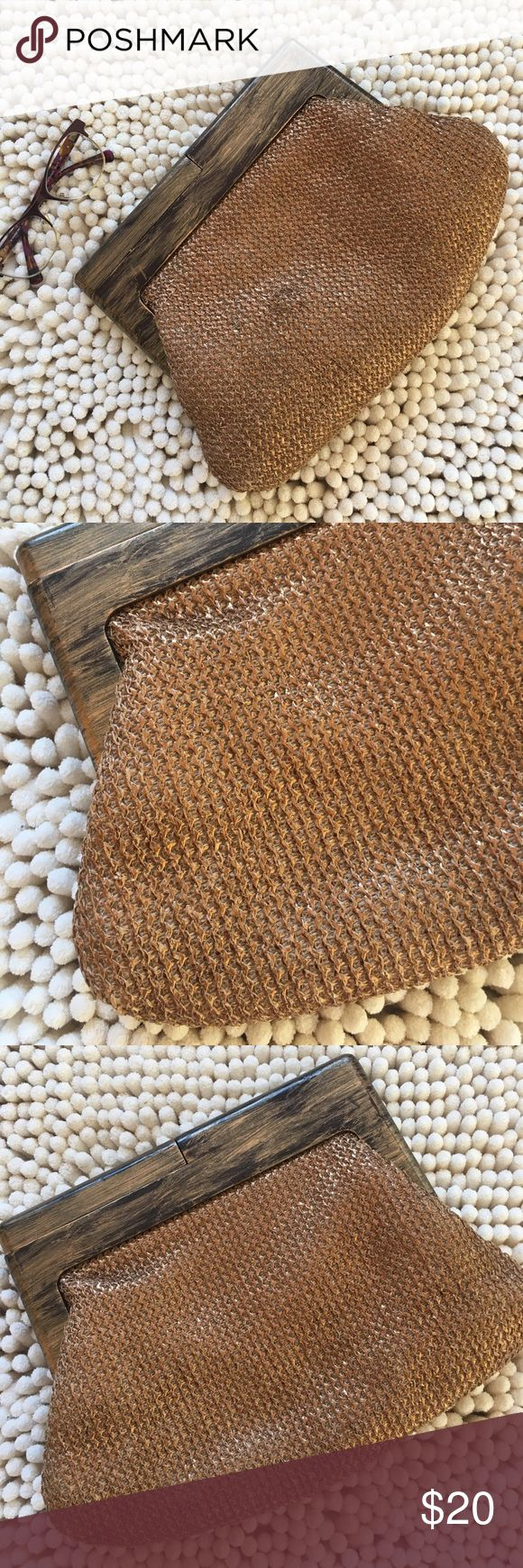 Melie Bianco Los Angeles Vegan Clutch Excellent condition vegan bag wood handles knit fabric magnetic closures one pocket inside zips close perfect for your phone designed in Los Angeles 9 inches deep 12 inches wide metallic finish super cute don't think it was ever used no rips no tears no stains non-smoking home💕 Milie Bianco Bags Clutches & Wristlets