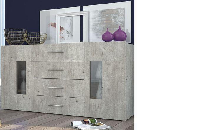 Buffet contemporain couleur bois gris et LED ORLANDO