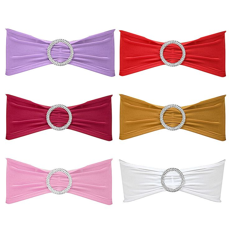 50Pcs Spandex Stretch Wedding Party Chair Cover Band Sashes With Buckle Bow Slider