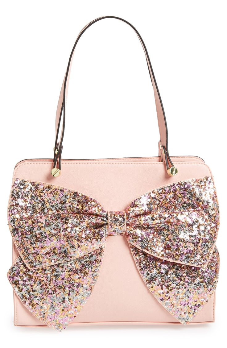 Pink satchel with the most fabulous glitter bow. http://rstyle.me/n/t3w7an2bn