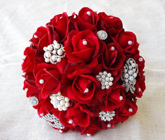 Broche de perles en soie rouge mariage Bouquet - Roses touche naturelle et Bouquet de mariée broche Noël Jewel - strass