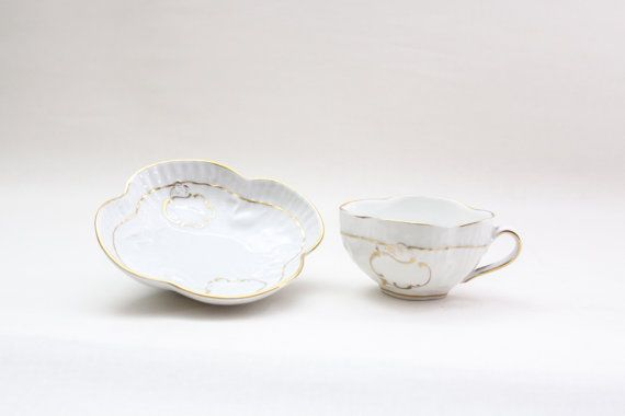 Antique Capodimonte Bird & Water Coffee/Tea cup and Saucer set