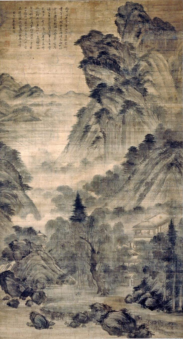 (Korea) 하경산수 by Gyeomjae Jeong Seon (1676- 1759). ca 18th century CE. ink on paper.