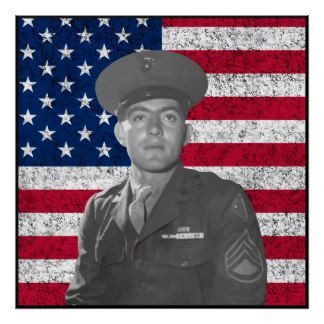 John Basilone and The American Flag -- Border Poster