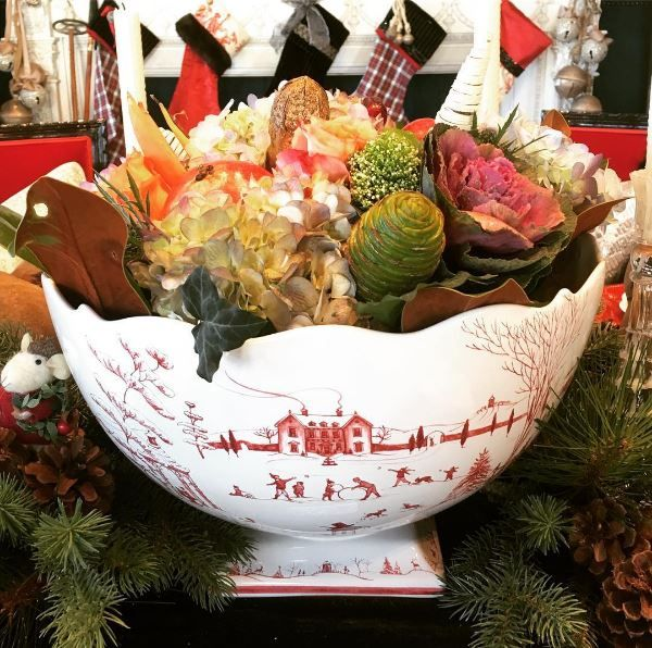 Because punch bowls aren't just for punch! A Gorgeous Holiday centerpiece of fresh flowers in our Winter Frolic Punch Bowl. #thinkoutsidethepot #floralarrangement #centerpieces