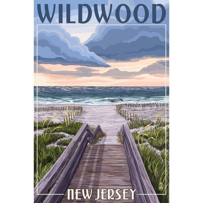 Wildwood, NJ - Beach Boardwalk Scene - LP Artwork (Acrylic Wall Clock), Black (Plastic)