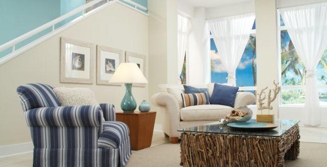 mediterraner Wohnstil Wohnideen hellblau beige Sofa