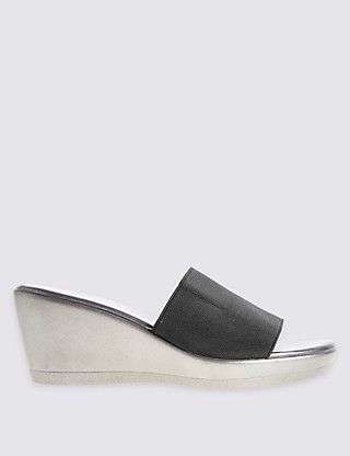 Wedge Heel Mule Sandals with Insolia® Clothing