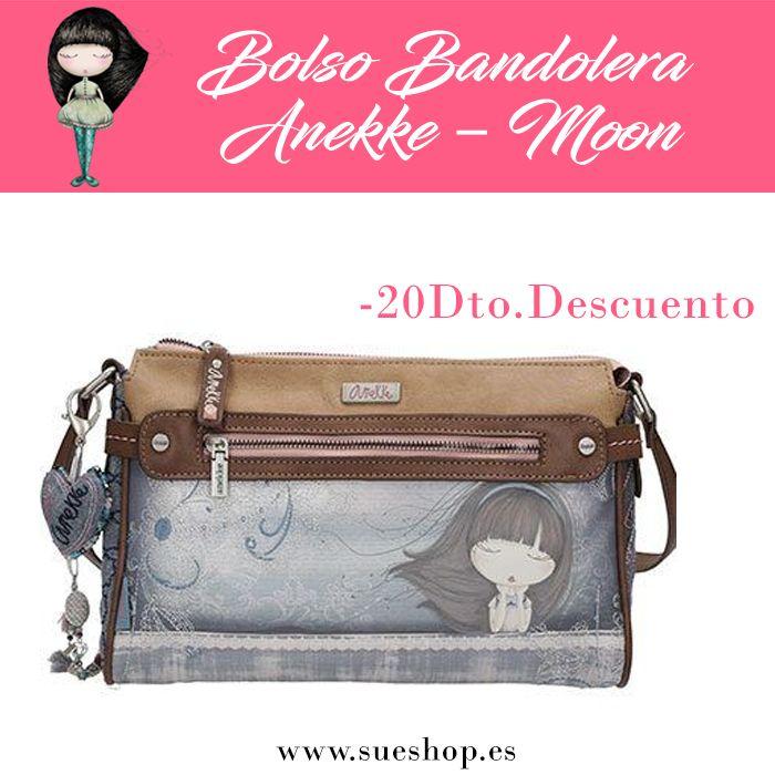 """Bolso Bandolera Anekke de la colección """"Moon"""", con compartimento principal con cremallera, varios bolsillos interiores y 2 bolsillos exteriores, uno en la parte delantera y otro en la parte trasera, ambos con cierre de cremallera.Con correa regulable para llevar el bolso colgado al hombro o bien en bandolera. @sueshop_es #anekke #bolso #bandolera #complementos #oferta #descuento #liquidacion #sueshop"""