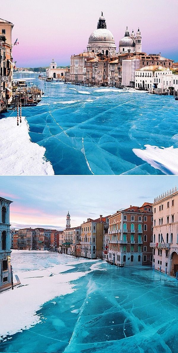 Venice looks like a magical wonderland in the winter when the canals are all frozen over. Beautiful!