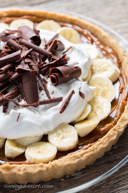 Banoffee Pie (Banana-Toffee) Caramel, Banana, Chocolate and Whipped Cream piled in a simple crust made with Digestive Biscuits