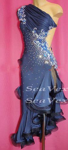 Latin Cha Cha Ramba Dance Dress US 4 UK 6 Blue Flowers Black Only One Size | eBay