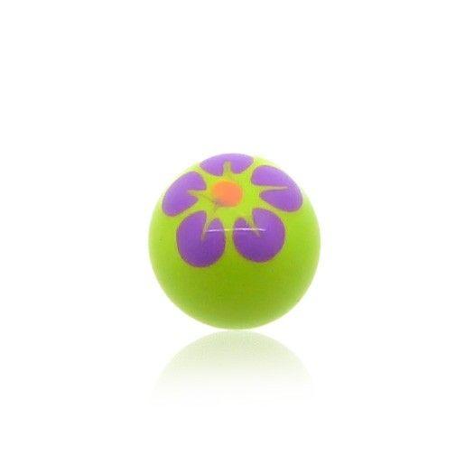 Boule de piercing en acrylique avec motif fleur peint à la main.Idéal pour le piercing à la langue.