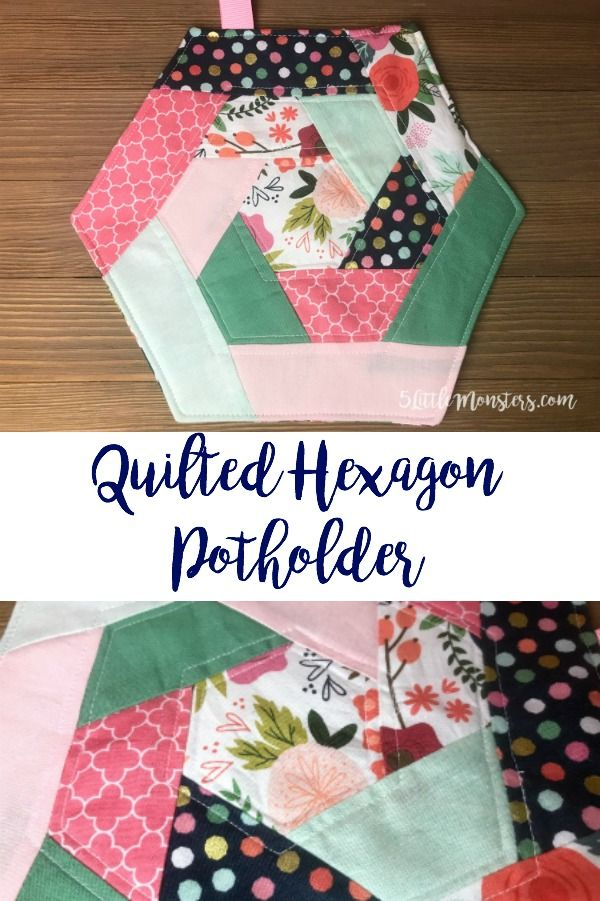 Quilted Hexagon Potholder Hexagon Quilt Pattern Sewing Design Sewing Projects For Beginners