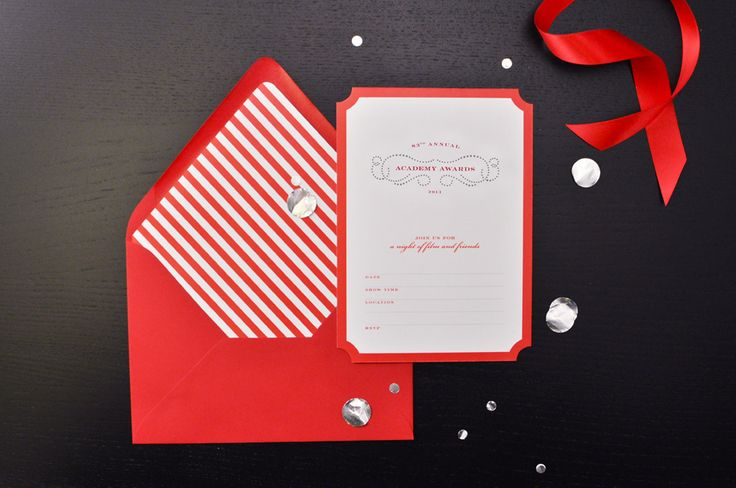 Oscar Invite - other super cute ideas for snacks. red licorice, red mike, popcorn bags
