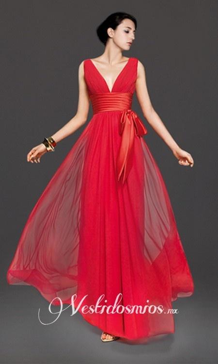 Chiffon Encote en V Vestido de Fiesta con Lazos VP202 www.vestidosmios.mx Gown…