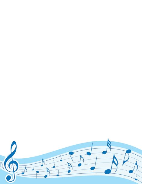 Music border with treble clef and notes in blue. Free downloads at http://pageborders.org/download/music-border/