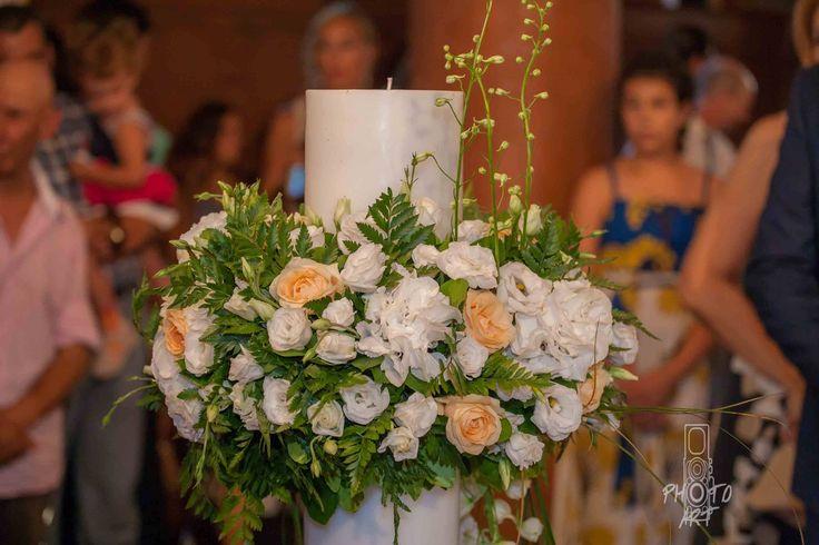 orange and white rustic lampathes / wedding candles orthodox wedding