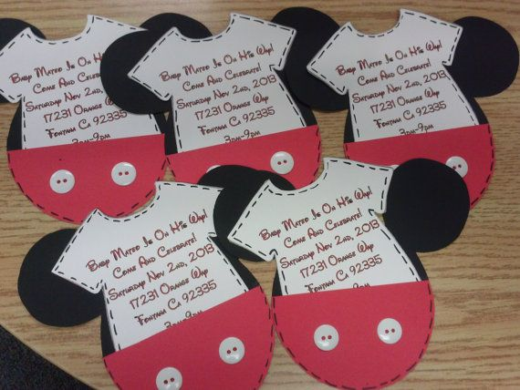 Mickey mouse baby shower invitations by twinkiescreations for Baby mickey decoration ideas